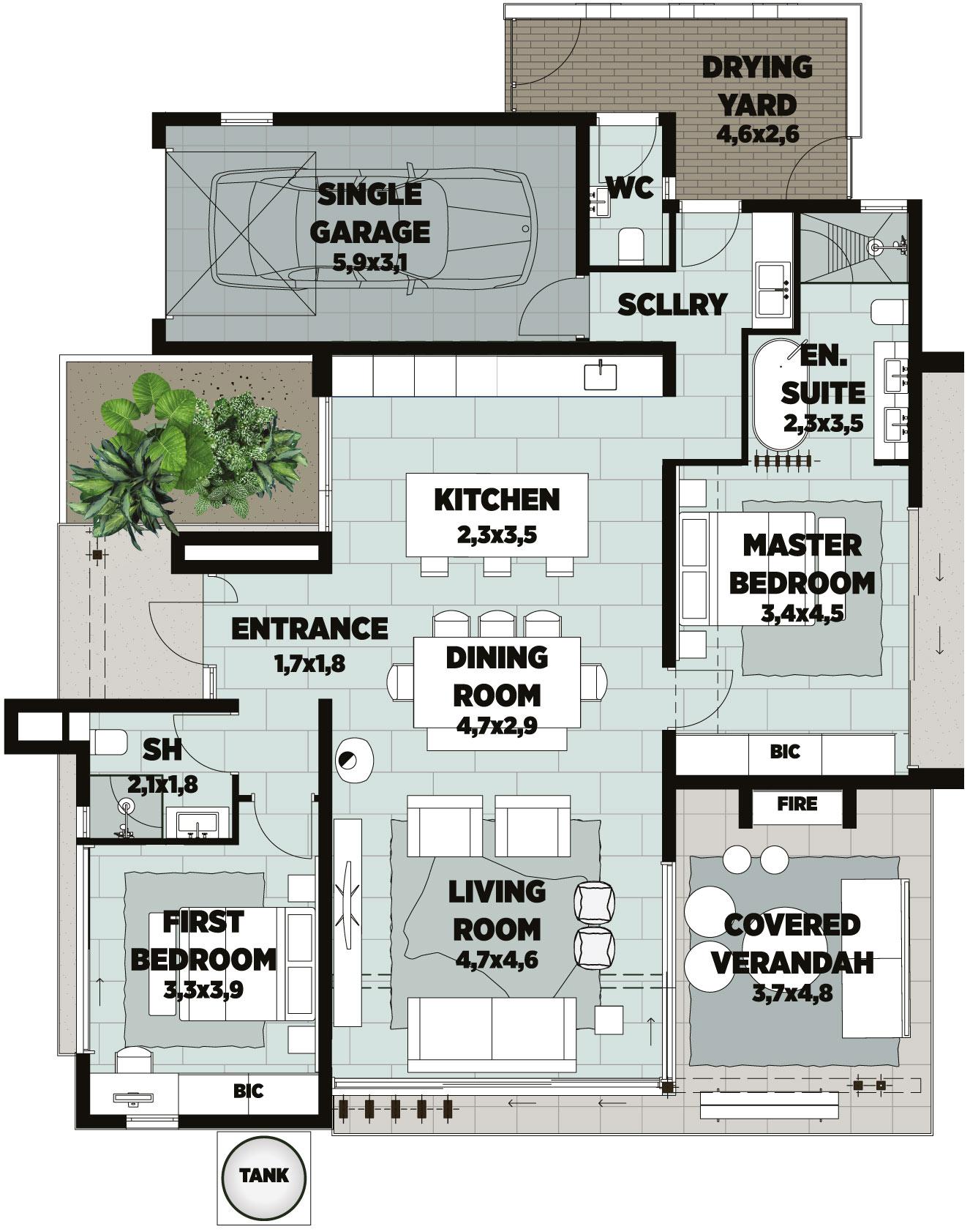 unit a townhouse floorplan