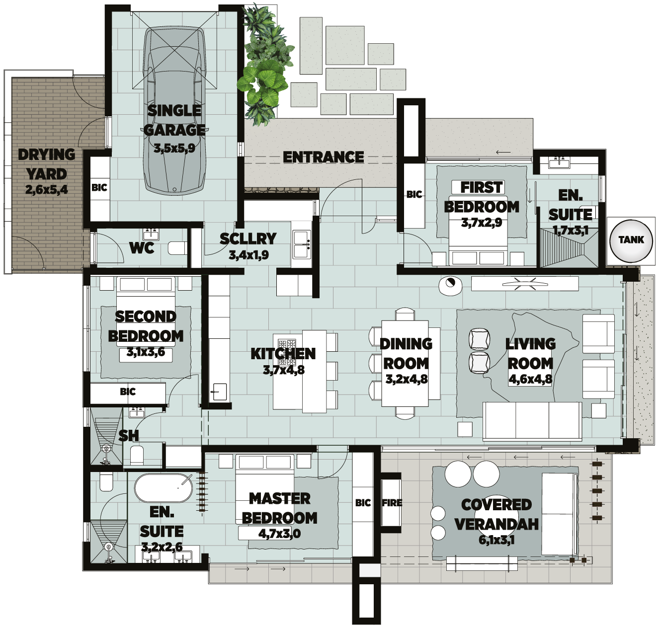 unit b townhouse floorplan