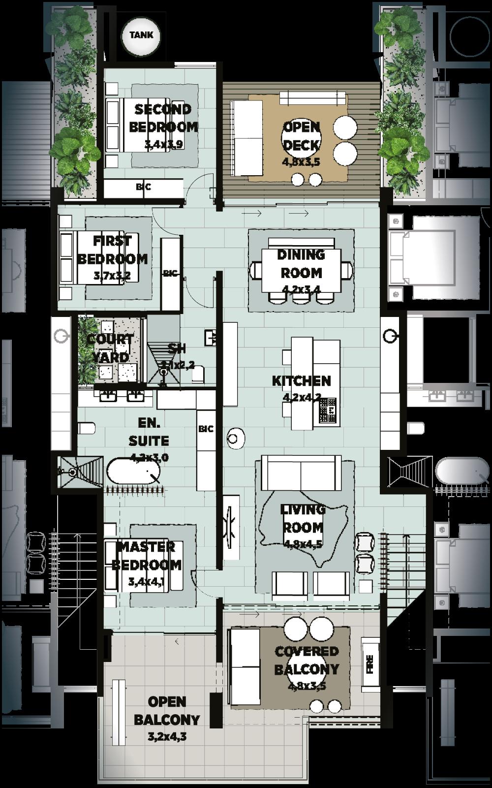 unit d townhouse floorplan